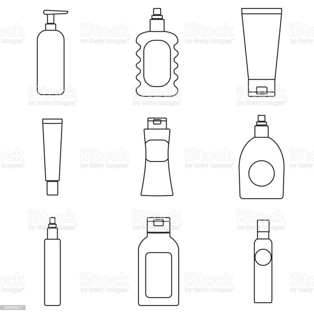 cream packaging bottles vector art illustration