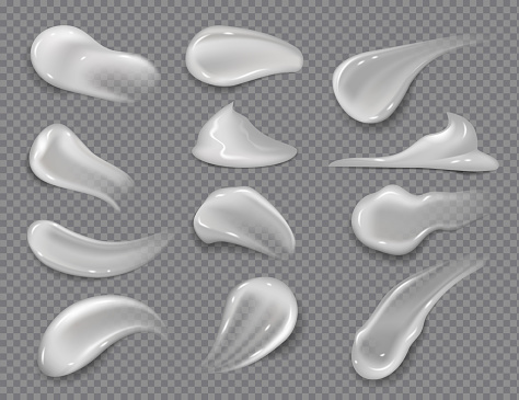 Cream smears. Realistic white cosmetic gel, creamy toothpaste blobs on transparent background. Vector skincare lotion