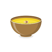 Cream soup in bowl isolated on background. Vector flat Illustration.