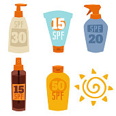 Cream sunscreen bottle isolated on white background vector icon sunblock cosmetic summer container tube packaging design. Solar spray sunbathing skincare tanning.