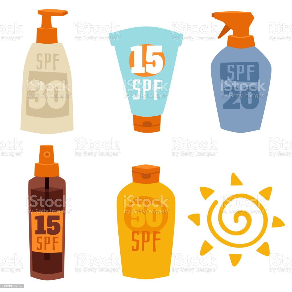 Cream sunscreen bottle isolated on white background vector icon sunblock cosmetic summer container tube packaging design vector art illustration