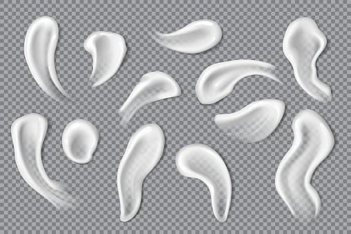 Cream swathes, lotion smears, moisturiser drops