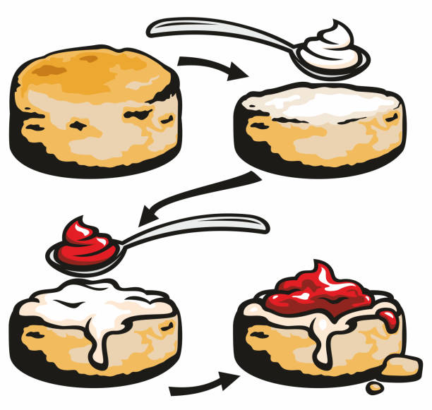 Cream Tea vector art illustration