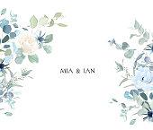 istock Creamy beige rose, anemone, dusty blue thistles, eucalyptus, greenery, juniper, brunia vector design frame 1309338595