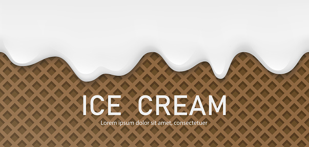 Creamy liquid, yogurt cream, ice cream or milk melting and flowing on a chocolate waffle. White creamy drips. Simple cartoon design. Background for banner or poster. Realistic vector illustration.