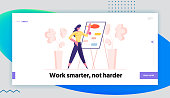 Create Brain Map, Work Efficiency Structure Landing Page Template. Female Character Drawing Business Decision Algorithm Chart on Whiteboard in Office, Analysing Workflow. Cartoon Vector Illustration