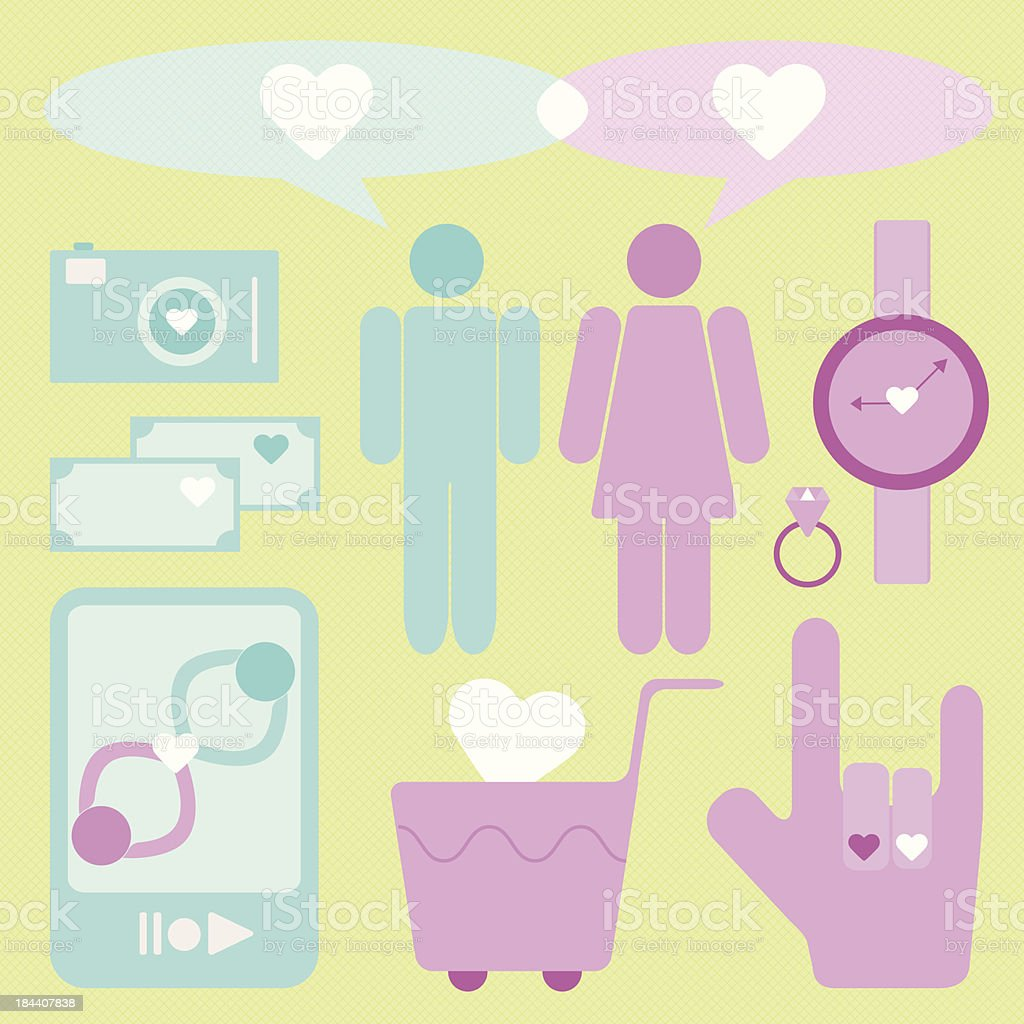 Create love and date items for lover royalty-free stock vector art
