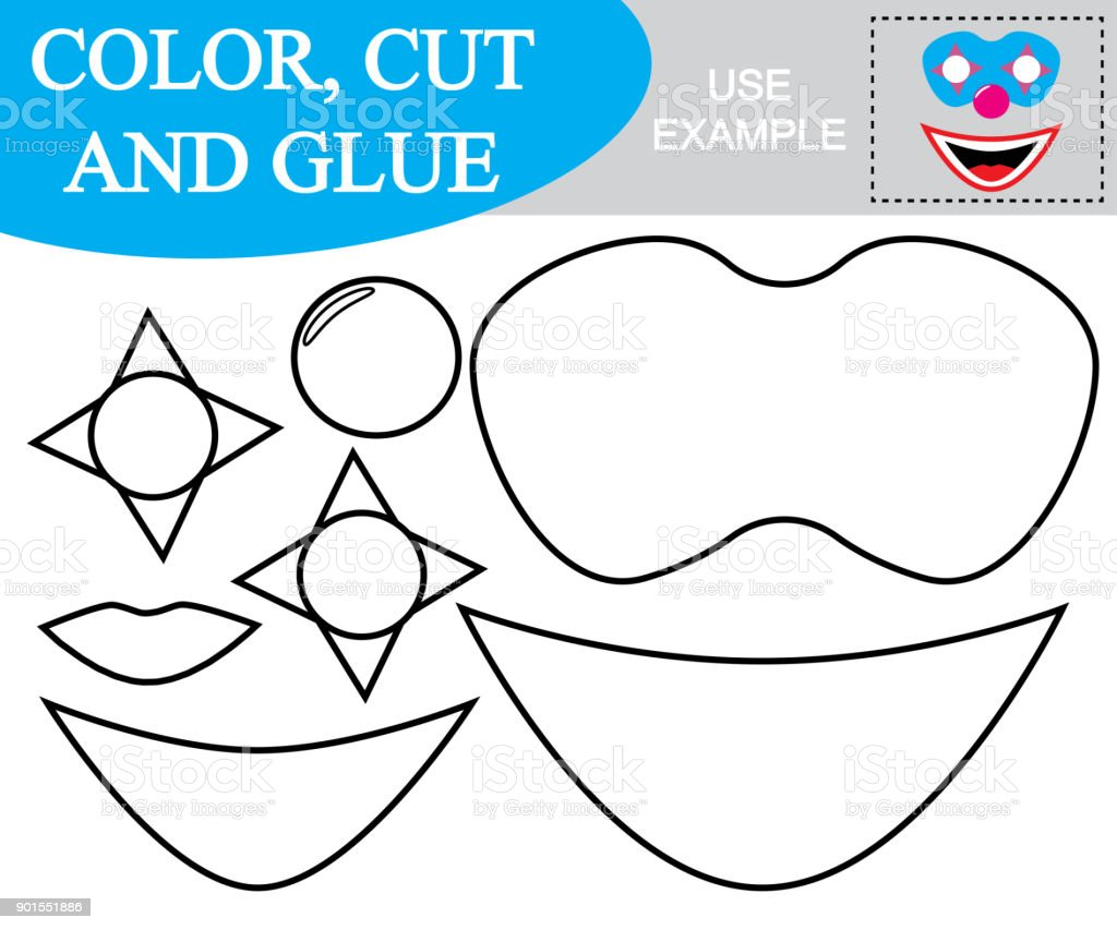 Create The Image Of Mask Of Clown Worksheet Color Cut And Glue Game