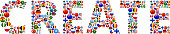 Create World Flags Vector Buttons. The word is composed of various flag buttons. It represents globalization and cooperation between nations. The flag buttons fill in the letters and form a seamless pattern. Flags include United States, Great Britain, Germany, Canada, European Union, Russia, Switzerland, Israel, China and many more.