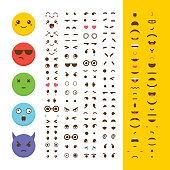 Create your own emoticon. Kawaii faces. Emoji. Avatar. Character creation set. Cartoon flat style. Vector illustration