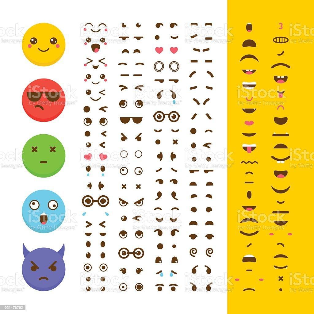 Create your own emoticon. Kawaii faces. Emoji. Avatar. Character vector art illustration