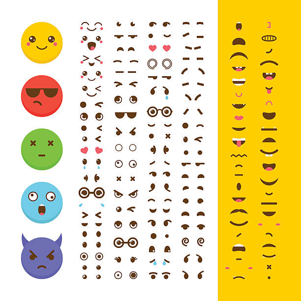 stockillustraties, clipart, cartoons en iconen met create your own emoticon. kawaii faces. emoji. avatar. character - gezichtsuitdrukking