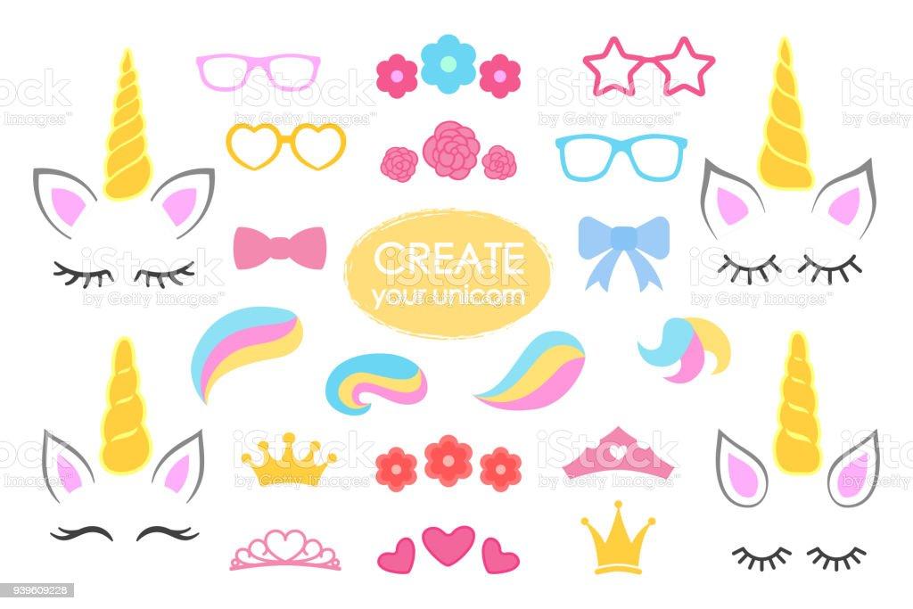 Crear tu propio unicornio - colección grande del vector. Constructor de unicornio. Cara de lindo unicornio. Detalles del unicornio - Horhs, pestañas, orejas, peinados, flores, coronas, copas, arcos. Vector de ilustración de crear tu propio unicornio colección grande del vector constructor de unicornio cara de lindo unicornio detalles del unicornio horhs pestañas orejas peinados flores coronas copas arcos vector de y más vectores libres de derechos de a la moda libre de derechos