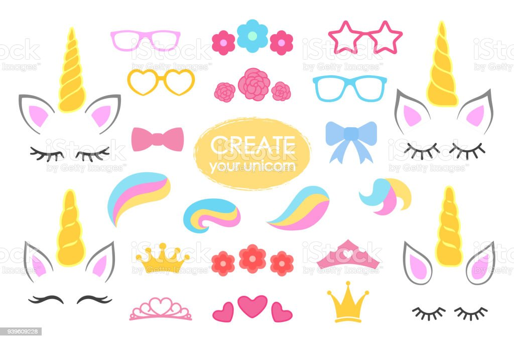 Create your own unicorn - big vector collection. Unicorn constructor. Cute unicorn face. Unicorn details - Horhs, eyelashes, ears, hairstyles, flowers, crowns, glasses, bows . Vector vector art illustration