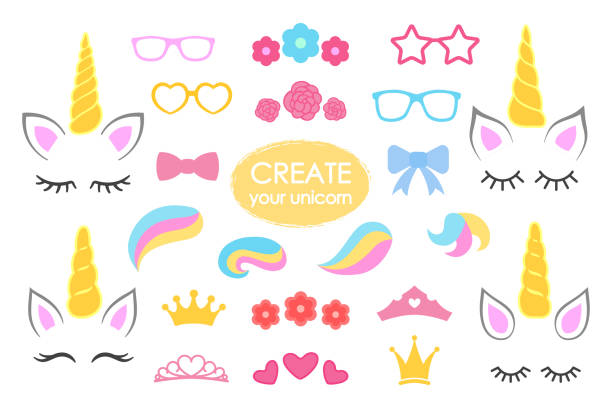create your own unicorn - big vector collection. unicorn constructor. cute unicorn face. unicorn details - horhs, eyelashes, ears, hairstyles, flowers, crowns, glasses, bows . vector - unicorns stock illustrations