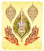 pen and ink illustration composition of two hands holding an ornamental leaf. 4 design elements