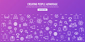 Creating people advantage outline style web banner design. Line vector icons for infographics, mobile and web designs.
