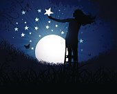 A girl at night puting a star in the sky.