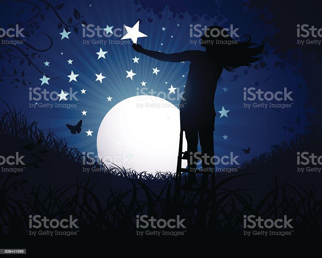 Creating Stars vector art illustration