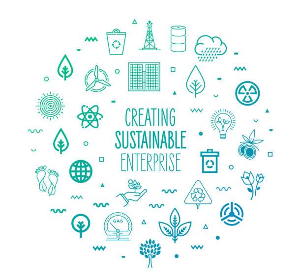 持続可能な企業の構築アウトラインスタイルのインフォグラフィックデザイン - 環境問題点のイラスト素材/クリップアート素材/マンガ素材/アイコン素材