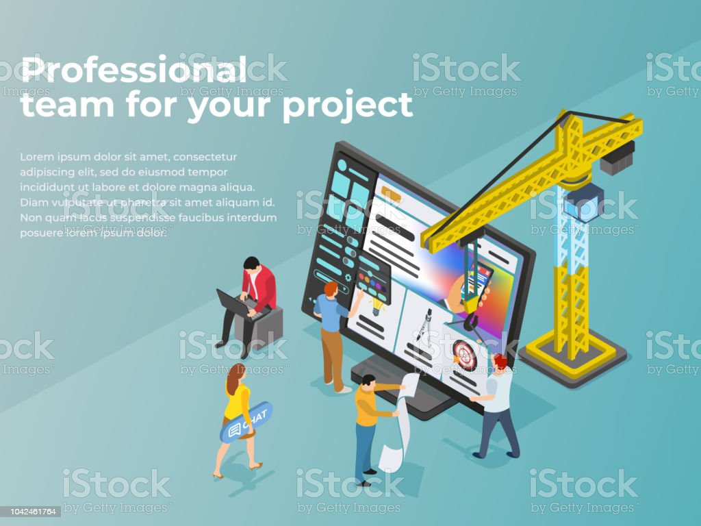 Creation and promotion of sites. UI / UX design. People work in teams on a project vector art illustration