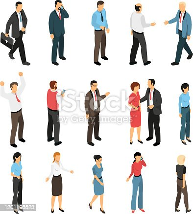 Man and woman creation isometric set with male and female figurines expressing emotions talking meeting going isolated vector illustration