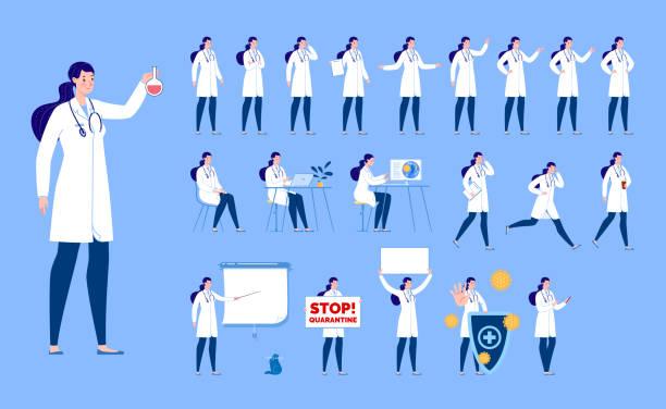 다양한 포즈와 얼굴 표정을 가진 의사의 캐릭터를 창조합니다. 격리. 여성 의사. - doctor stock illustrations