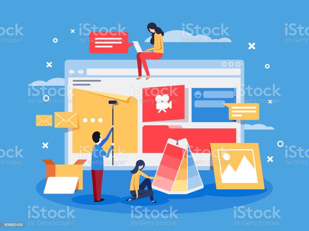 Creation of web design for site vector art illustration