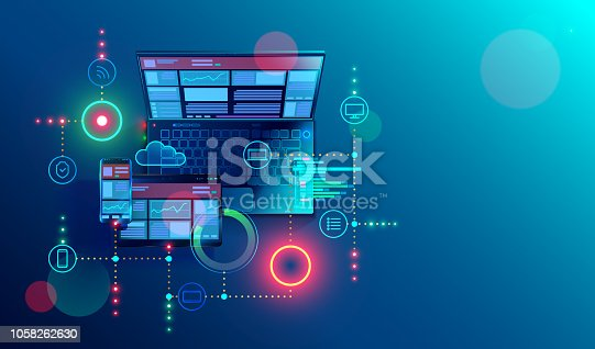 istock Creation responsive internet website for multiple platforms. Building mobile interface on screen of laptop, tablet, smartphone. Layout content on display devices. Conceptual banner of web technology. 1058262630