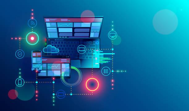 창조 여러 플랫폼에 대 한 응답 인터넷 웹사이트입니다. 노트북, 태블릿, 스마트폰 화면에 모바일 인터페이스를 구축. 디스플레이 장치에 콘텐츠 레이아웃입니다. 웹 기술의 개념적 배너입니다. - 개발 stock illustrations