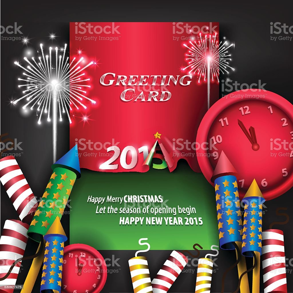 Creative 2015 New Year Background And Greeting Card Stock Vector Art