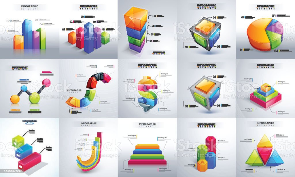 Creative 3d Timeline Infographic Set With Bar Chart Pie Chart And