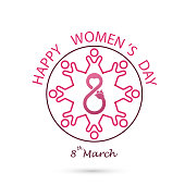 Creative 8 March icon vector design with international women's day icon.Women's day symbol. Minimalistic design for international women's day concept.Vector illustration