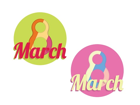 Creative 8 March logo vector design with international womens day icon.Womens day symbol.Minimalistic design.Vector illustration