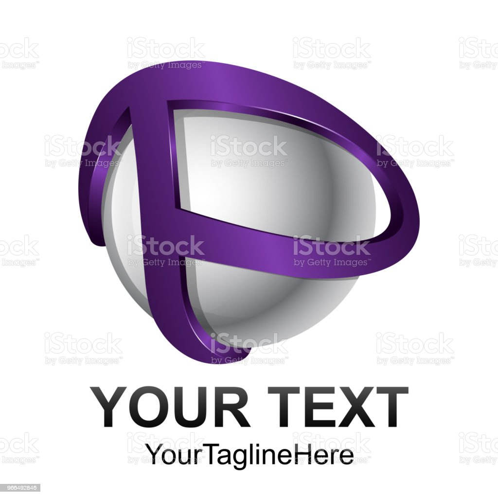 creative abstract 3d sphere letter p vector logo design template element colored purple silver concept