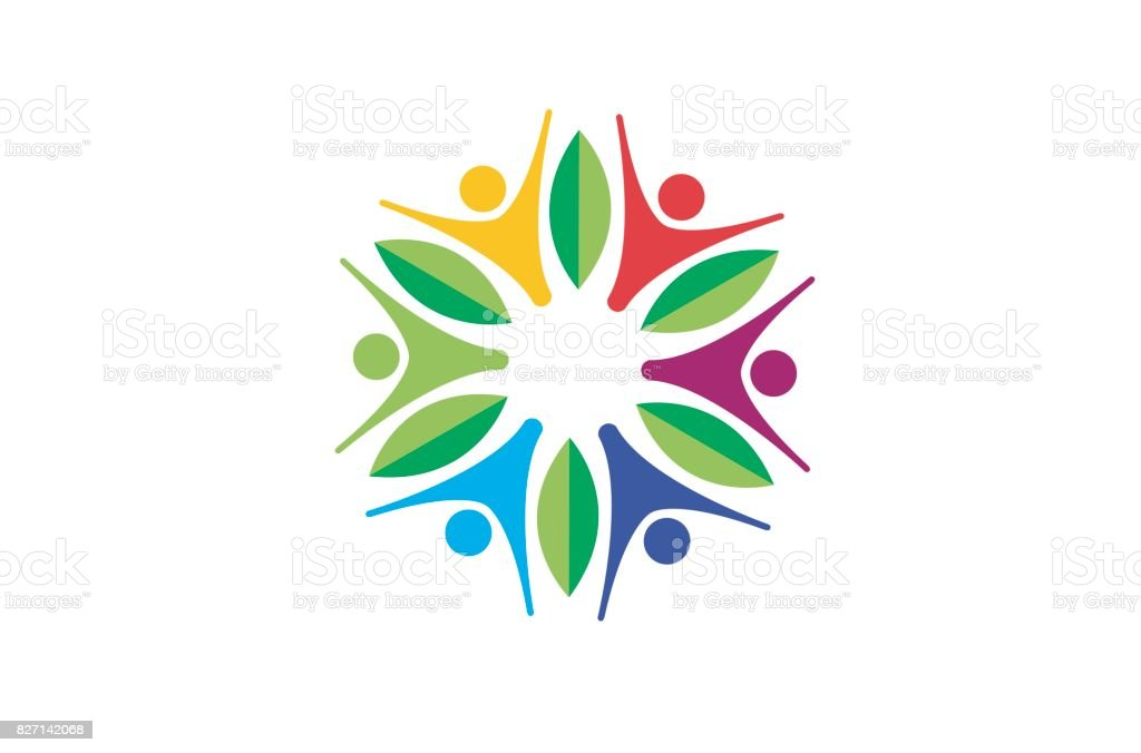 Creative Abstract Colorful People Circle Leaves Symbol Design vector art illustration