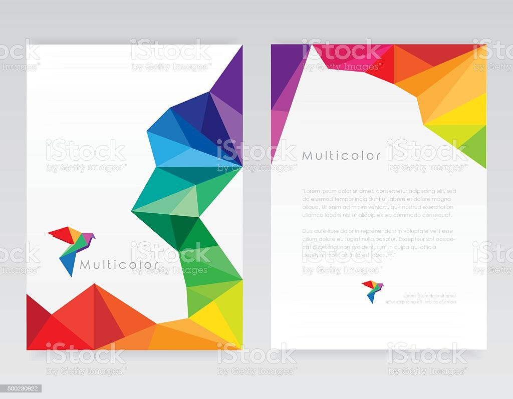 Creative abstract geometric multicolored letterhead template mockups with bird element vector art illustration