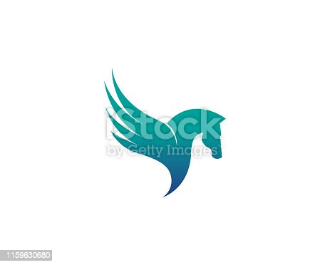 istock Creative Abstract Horse Wing Logo Design Vector Symbol Illustration 1159630680