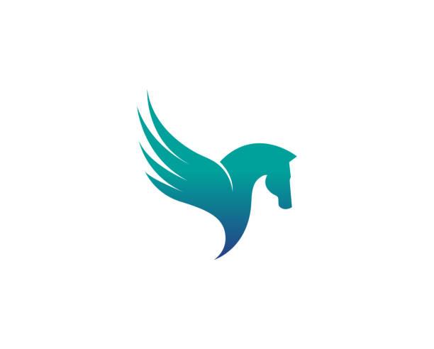 creative abstract horse wing logo design vector symbol illustration - pegasus stock illustrations