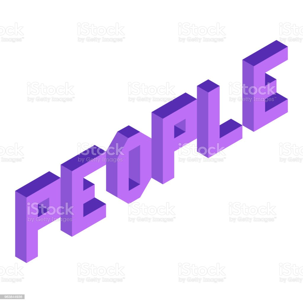 Creative abstract illustration with violet word 'people' on white background. Isometric design. 3D concept. - Royalty-free Abstract stock vector
