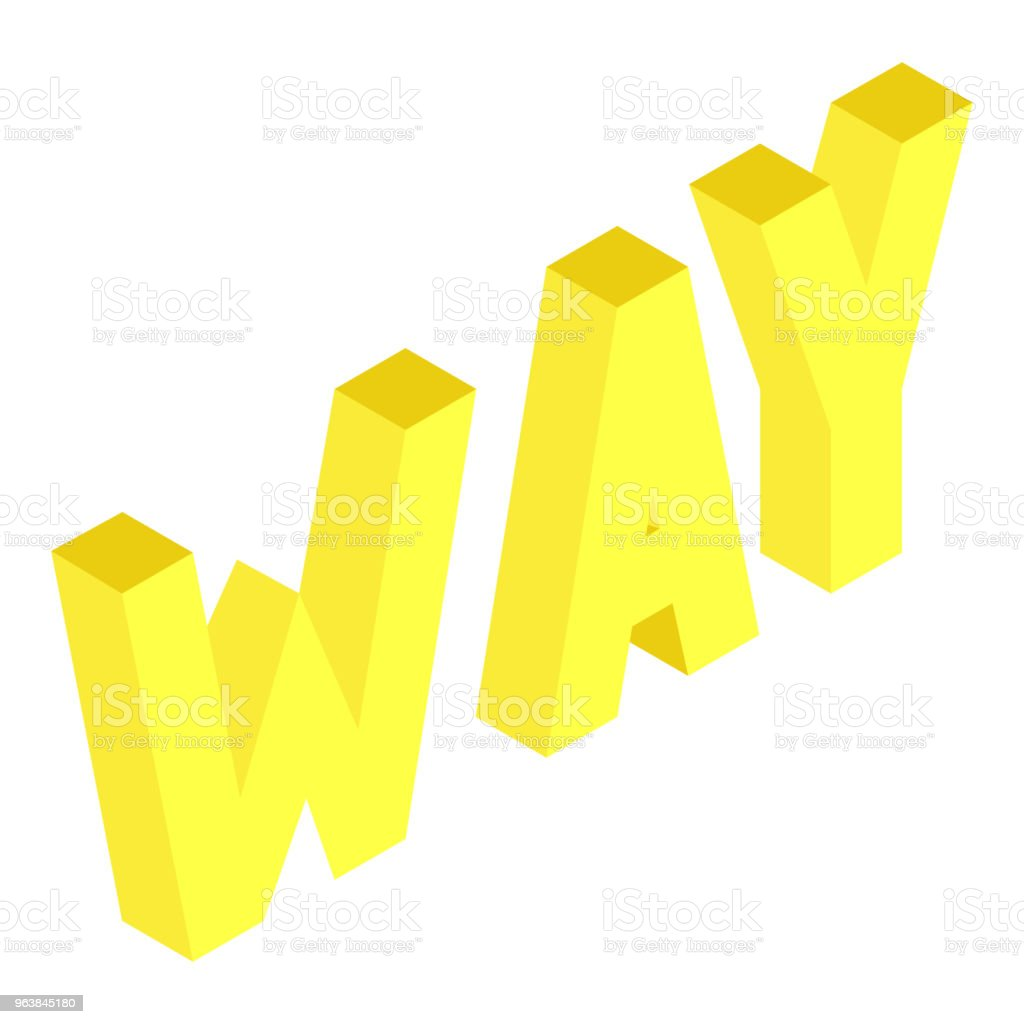 Creative abstract illustration with yellow word 'way' on white background. Isometric design. 3D concept. - Royalty-free Abstract stock vector