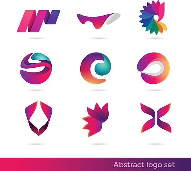 Creative abstract inspiration vector logo design template. Colorful Vector illustration logo set. vector art illustration