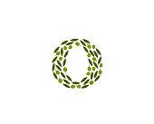 Creative Abstract O Letter Olive Leaves Logo Design Vector Symbol Illustration