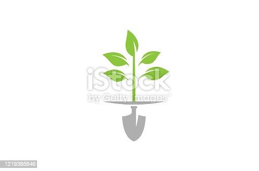 istock Creative Abstract Shovel leaves icon logo 1219385846