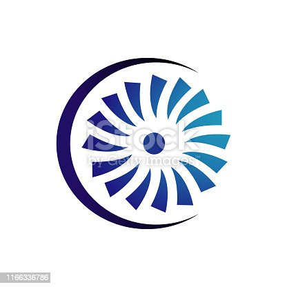 creative abstract wind turbine logo design vector illustrations