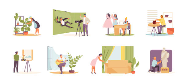 Creative activities of people vector People engaged in various types of creativity and hobbies. Floristics, filming, fashion design, pottery, drawing, playing the guitar, interior decoration and sculpting. Vector set hobbies stock illustrations