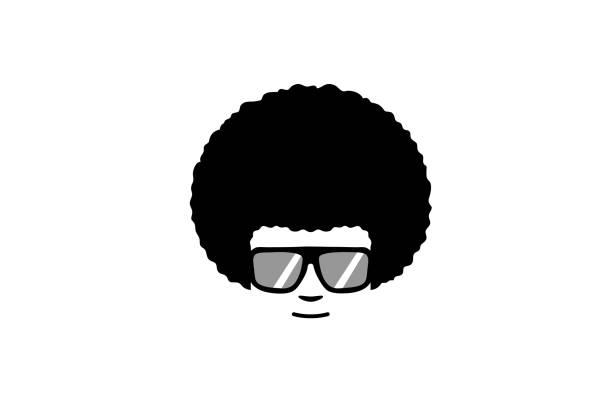 창조적인 헤어스타일 머리 괴짜 스타일 로고 - 아프로 머리 stock illustrations