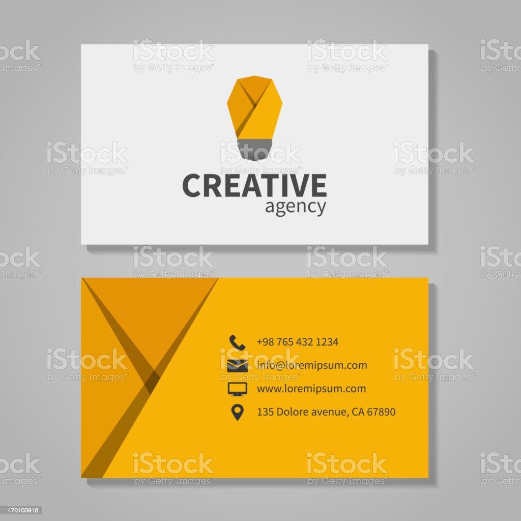 Creative agensy business card template with light bulb vector art illustration