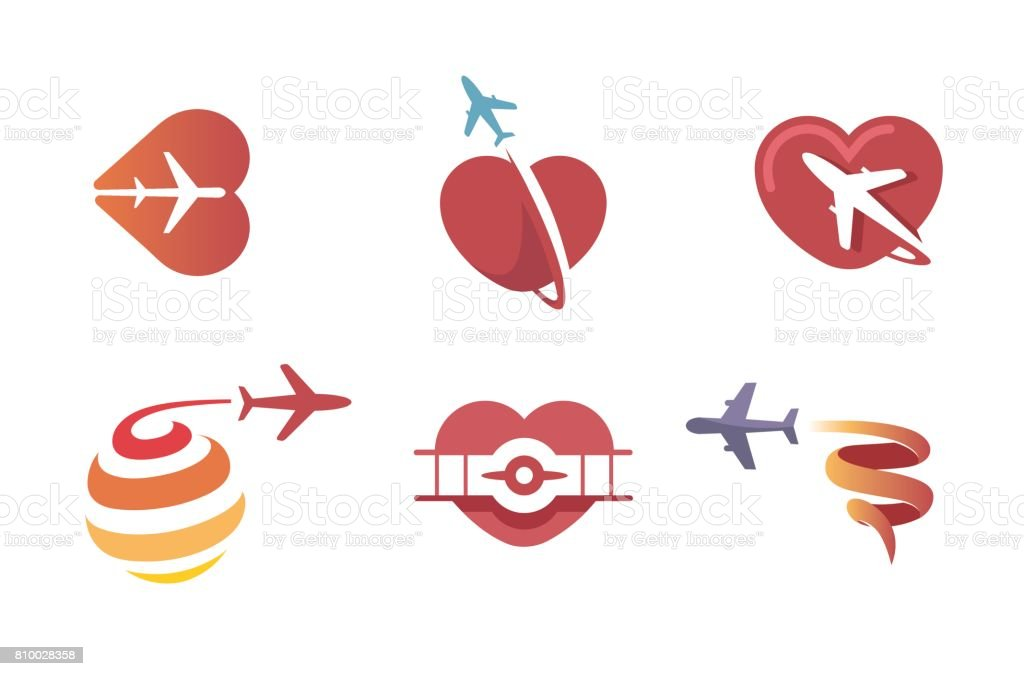 Creative Aircraft And Heart Symbol Stock Vector Art More Images Of