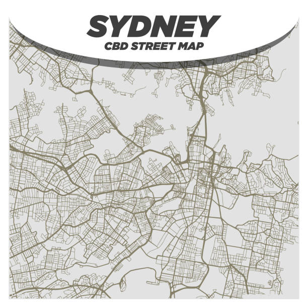Creative and Bold Black & White City Street Map of Sydney Australia CBD Central Downtown District vector art illustration